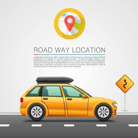 Illustration pour Car travel on the location. Vector illustration - image libre de droit