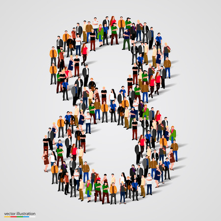 Illustration pour Large group of people in number 8 eight form. Vector illustration - image libre de droit