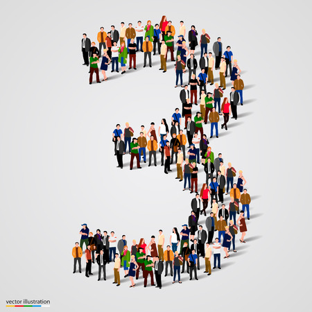 Large group of people in number 3 three form. Vector illustration