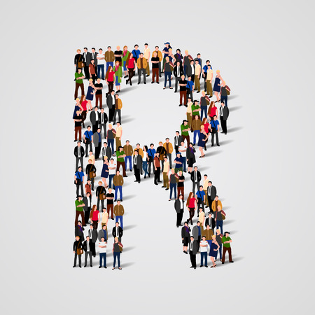 Large group of people in letter R form. Vector seamless background