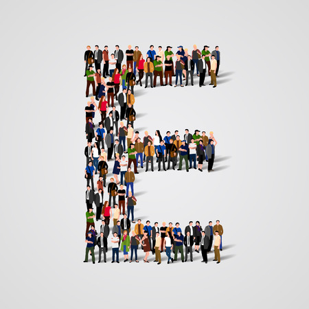 Illustrazione per Large group of people in letter E form. Vector seamless background - Immagini Royalty Free