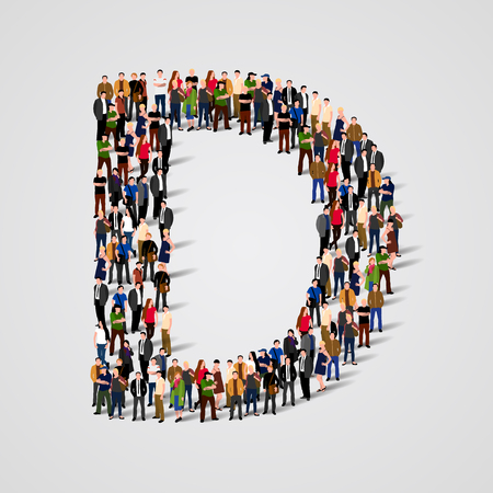 Large group of people in letter D form. Vector seamless background