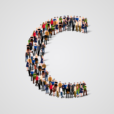 Large group of people in letter C form. Vector seamless background