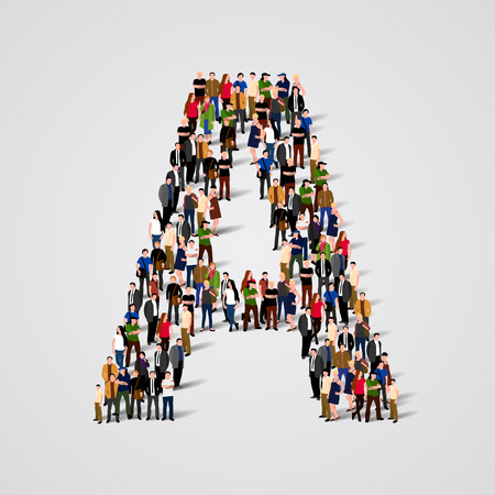 Photo pour Large group of people in letter A form. Vector seamless background - image libre de droit