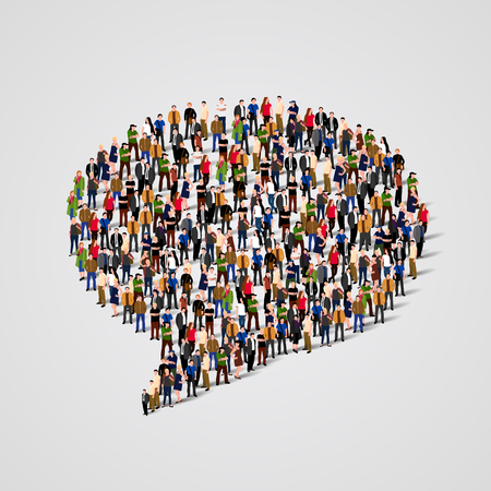 Large group of people in the chat bubble shape. Vector illustration