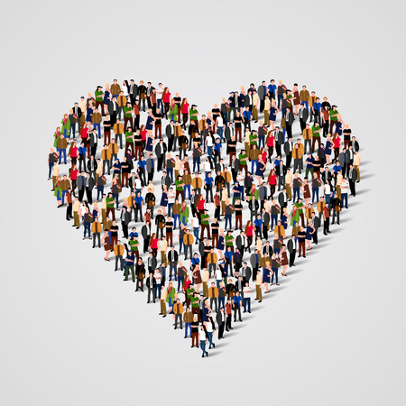 large group of people in the heart sign shape vector illustration