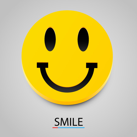Modern yellow laughing happy smile. Vector illustration