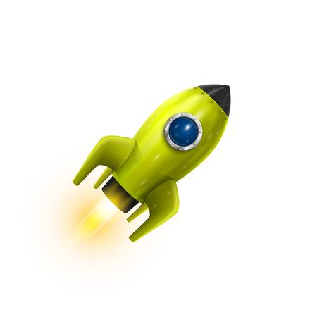 Illustration pour Rocket red icon 3d, Realistic Green object on a white background - image libre de droit