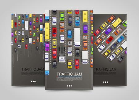 Illustration pour Modern transport vertical banners. Road flyer set. Traffic jam infographics. Vector illustration - image libre de droit