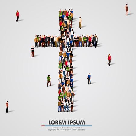 Ilustración de Large group of people in the shape of cross. Vector illustration - Imagen libre de derechos