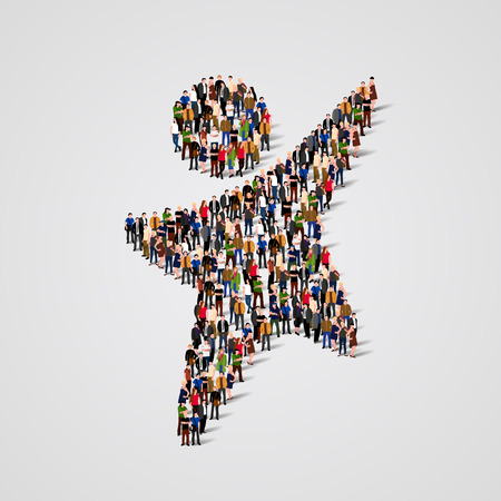 Ilustración de Large group of people in the shape of happy man. Vector illustration - Imagen libre de derechos