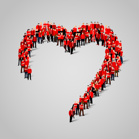 Illustration pour Large group of people in the shape of heart. Vector illustration - image libre de droit