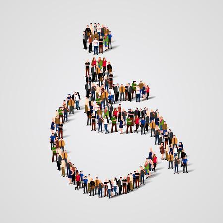 Vektor für Large group of people in the shape of wheelchair. Vector illustration - Lizenzfreies Bild