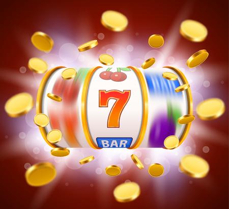 Illustration pour Golden slot machine with flying golden coins wins the jackpot. Big win concept. - image libre de droit