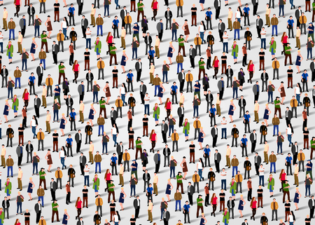 Illustration pour Large group of people crowded on white background. - image libre de droit