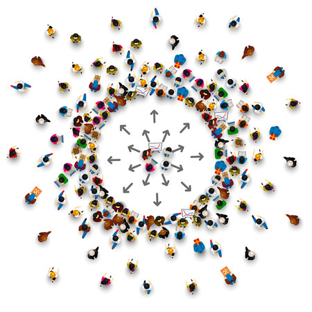 Illustration pour A lot of people stand in a circle on a white background. Vector illustration - image libre de droit