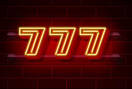 Casino 777 neon signboard, Winner triple sevens, Casino jackpot icon, lucky number . Vector illustration