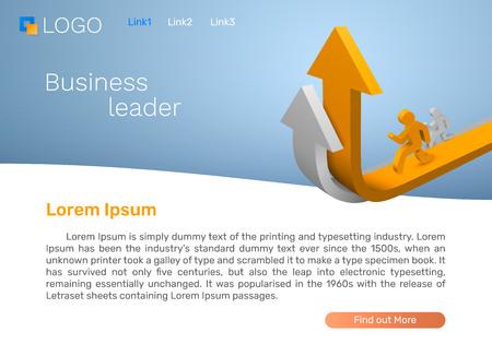 Illustration pour Business leader arrow, Landing page concept. Vector illustration - image libre de droit