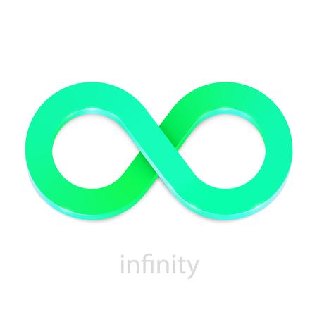 Ilustración de Abstract infinity greeb sign isolated on white. Vector illustration - Imagen libre de derechos