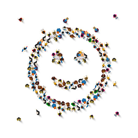 Illustration pour Many people sign emoji on the white background. Vector illustration - image libre de droit