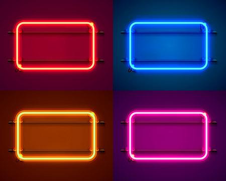 Illustration pour Neon frame sign in the shape of a square. Set color. template design element. Vector illustration - image libre de droit