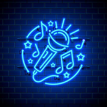 Neon label music karaoke banner  template design element