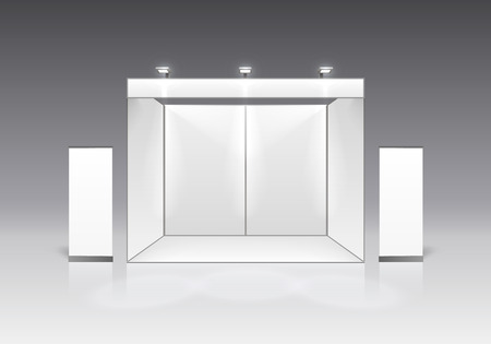 Illustration for Scene show Podium for presentations on the gray background. Vector illustration - Royalty Free Image