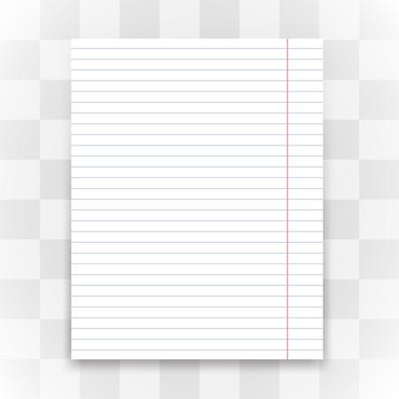 Ilustración de Blank white lined paper on transparent background. Vector illustration. - Imagen libre de derechos