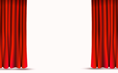 Illustration for Red velvet curtains isolated on white background. Show stage concept. - Royalty Free Image