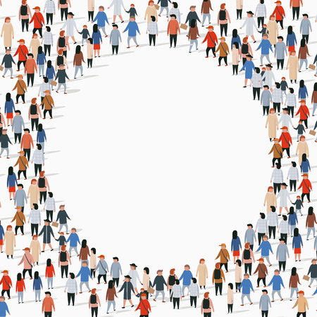 Illustration pour Large group of people in the shape of circle. Vector illustration - image libre de droit