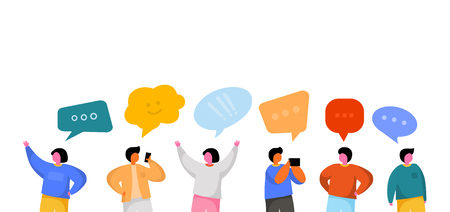 Illustration pour Social Network Template. Group of Young People Characters Chatting and speaking. Virtual Communication Concept. - image libre de droit