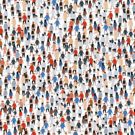 Illustration pour Large group of people. Vector seamless background - image libre de droit