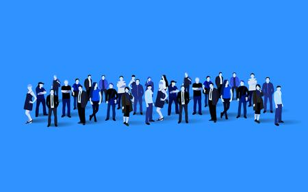 Illustration for Big people crowd on blue background. Vector illustration. - Royalty Free Image