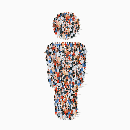 Illustration for Large group of people in people sign shape. Vector illustration - Royalty Free Image