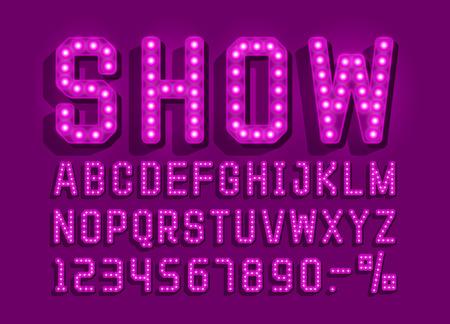 Illustration pour Show font vintage, light sign set. Vector illustration - image libre de droit