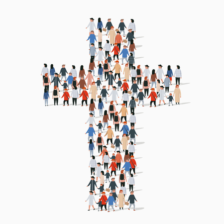 Illustration for Large group of people in form of christian cross. - Royalty Free Image