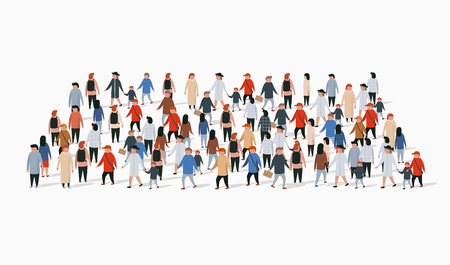 Illustration pour Template for advertising brochure with people crowd in shape of rectangle. - image libre de droit