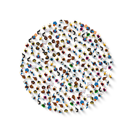 Illustration for A group of people in a shape of circle icon, isolated on white background . Vector illustration - Royalty Free Image