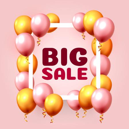 Ilustración de Big sale balloon market frame on the pink background. Vector illustration - Imagen libre de derechos
