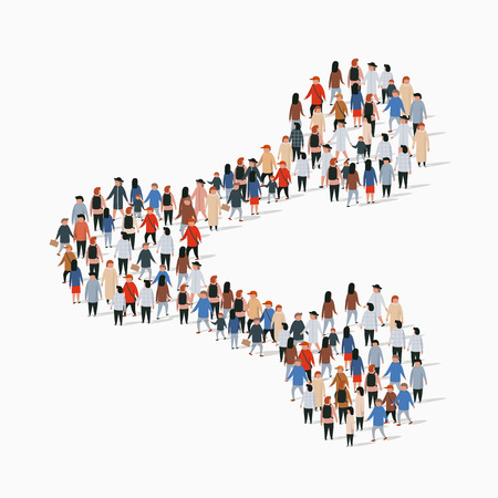 Illustration pour Large group of people in the shape of share sign. Vector illustration. - image libre de droit