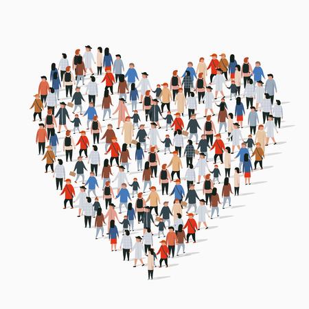 Photo pour Large group of people in the heart sign shape. Vector illustration - image libre de droit