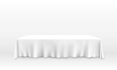 Illustration pour Table with tablecloth art banner, white background. Vector illustration - image libre de droit