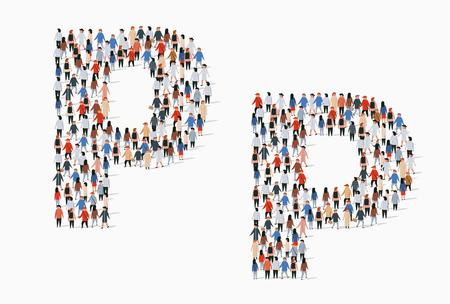 Illustration pour Large group of people in letter P form. Vector seamless background - image libre de droit