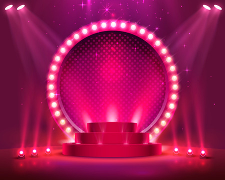 Illustration for Stage podium with lighting, Stage Podium Scene with for Award Ceremony on red Background, Vector illustration - Royalty Free Image