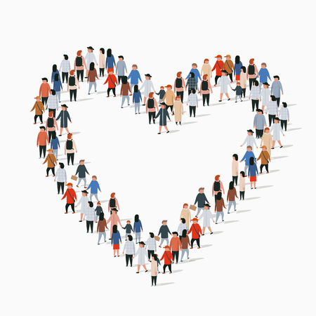 Illustration pour Large group of people in the heart sign shape. Vector illustration - image libre de droit