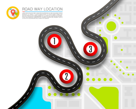 Illustration for Paved path on the road way location background. - Royalty Free Image
