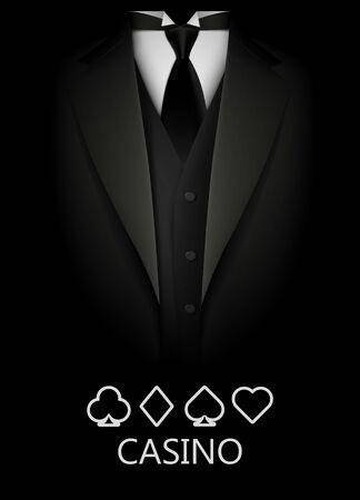 Illustration pour Tuxedo with suit of cards background. Casino concept. Elite poker club. Clean vector illustration - image libre de droit