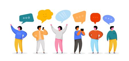 Illustration for Social Network Template. Group of Young People Characters Chatting and speaking. Virtual Communication Concept. Vector illustration - Royalty Free Image