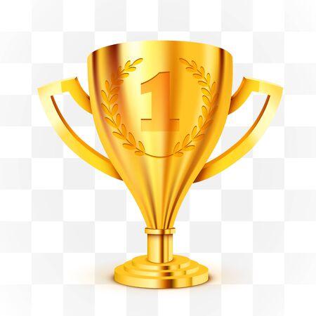 Ilustración de Realistic Golden Trophy on transparent background. Vector Illustration - Imagen libre de derechos