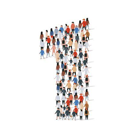 Illustration pour Large group of people in number 1 one form. Vector illustration - image libre de droit